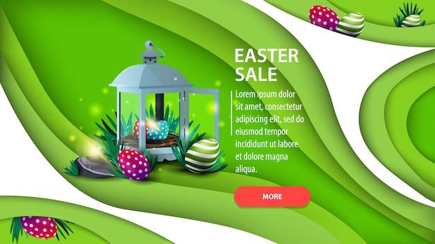 Vente de pâques, bannière de remise horizontale horizontale verte