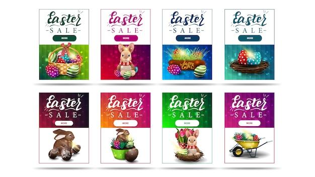 Vente de pâques, grande collection de bannières de réduction colorées verticales lumineuses avec symboles de pâques, boutons et texture polygonale
