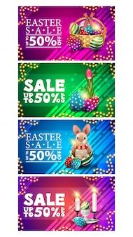 Vente de pâques, jusqu'à 50% de réduction, collection de bannières de réduction horizontales colorées en style dessin animé avec des icônes de pâques et un cadre de guirlande.