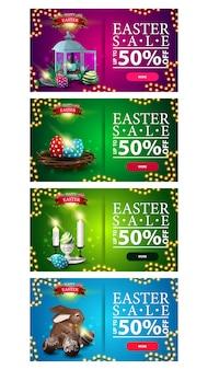 Vente de pâques, jusqu'à 50% de réduction, grande collection de bannières de réduction colorées lumineuses avec des symboles de pâques