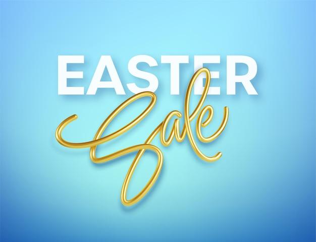 Vente de pâques typographie brillante métallique dorée. lettrage réaliste en 3d pour la conception de flyers, brochures, dépliants, affiches et cartes. eps10