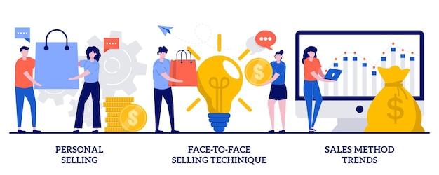 Vente personnelle, technique de vente en face à face, concept de tendances de méthode de vente avec des personnes minuscules. travail de vendeur, jeu d'illustrations vectorielles abstraites hors ligne. assistant de magasin et métaphore de l'acheteur.