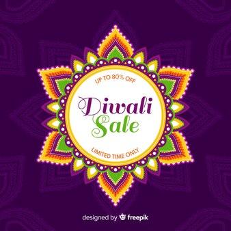 Vente de plat diwali avec soleil abstrait floral