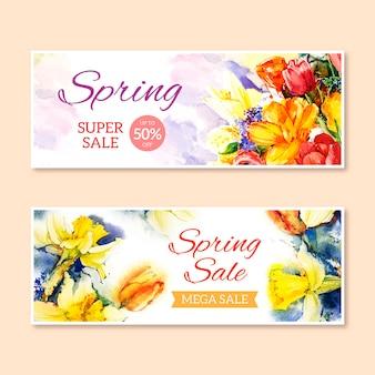 Vente de printemps aquarelle avec des fleurs