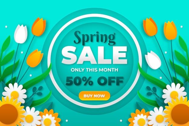 Vente de printemps colorée dans un style papier