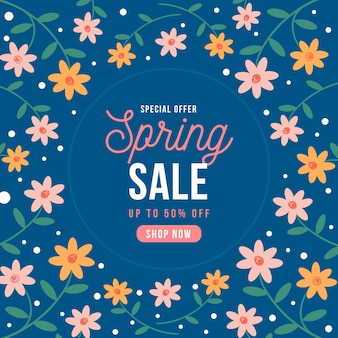 Vente de printemps design plat avec des fleurs colorées ditsy