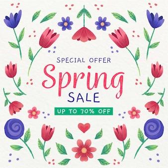 Vente de printemps avec fleurs violettes et rouges bordeaux