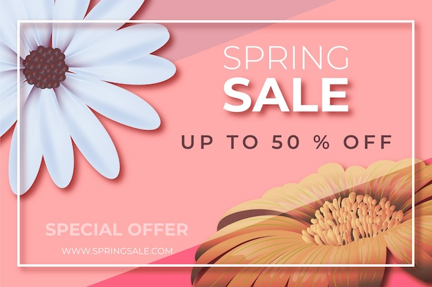 Vente de printemps floral réaliste offre un design