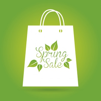 Vente de printemps sur illustration vectorielle fond vert
