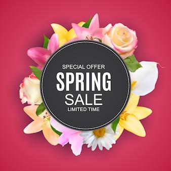 Vente de printemps jolie bannière avec des fleurs