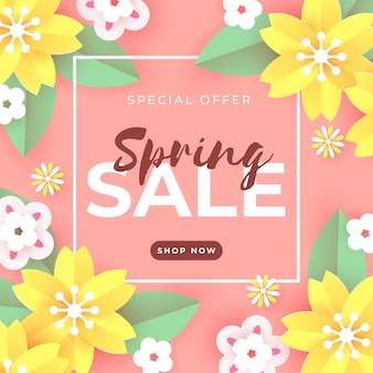 Vente de printemps en papier avec fleurs jaunes