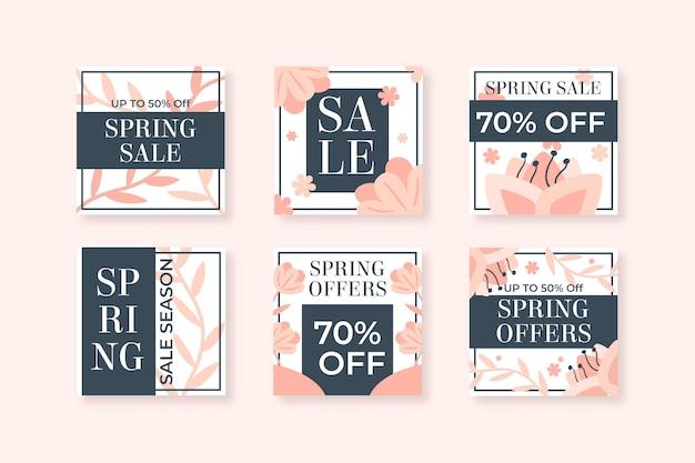Vente de printemps plat instagram posts
