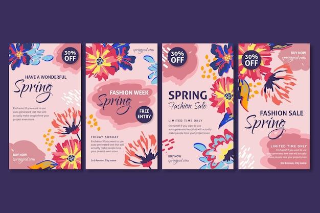 Vente de printemps plat instagram stories