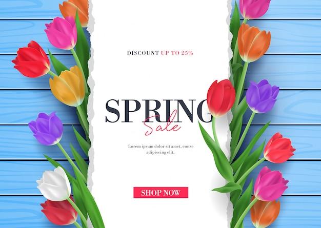 Vente de printemps avec tulipes fleur cadre 3d illustration