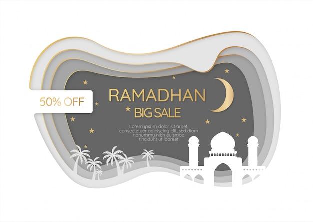 Vente de ramadhan en papier découpé, vektor premium, or, blanc et noir