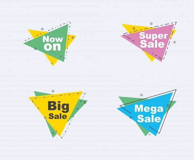 Vente et remise ensemble de bannières. ruban de formes géométriques et origami.