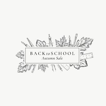 Vente de la rentrée scolaire. modèle d'étiquette, signe ou carte de vecteur abstrait.