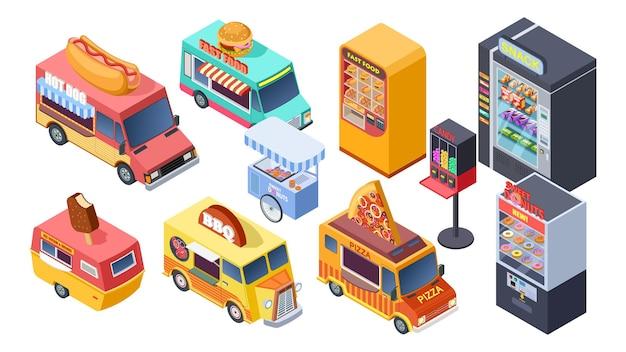Vente de restauration rapide. distributeur automatique isométrique, camions de rue et chariots. vente de pizzas à hot-dogs. ensemble de vecteur isolé 3d. illustration de la nourriture de rue, collection de camions de livraison rapide