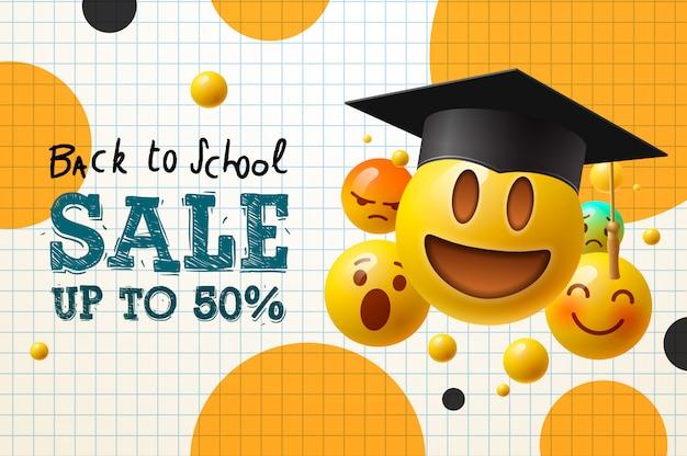 Vente de retour à l'école, affiche et bannière avec des émoticônes volantes en chapeau de graduation pour la promotion du marketing de détail et l'éducation. illustration.