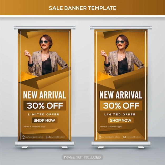 Vente retrousser bannière avec concept premium