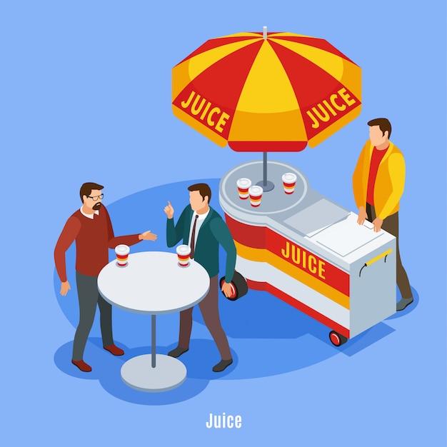 Vente de rue isométrique avec décrochage sous parapluie et deux personnes parlantes, boire du jus à l'extérieur illustration vectorielle