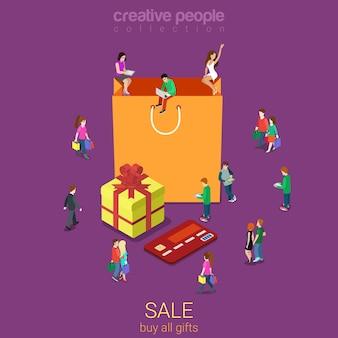 Vente sac shopping plat isométrique