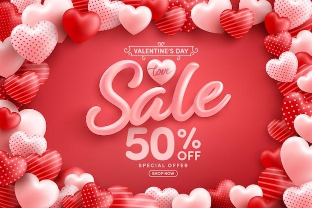 Vente de la saint-valentin 50% de réduction sur une affiche ou une bannière avec de nombreux coeurs doux sur rouge
