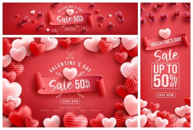 Vente de la saint-valentin 50% de réduction sur l'affiche ou la bannière