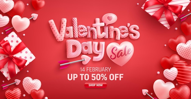 Vente de la saint-valentin 50% de réduction sur la bannière avec une jolie boîte-cadeau et des coeurs doux sur rouge