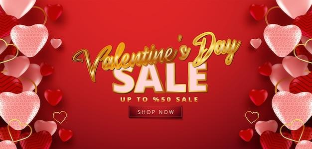 Vente de la saint-valentin 50% de réduction sur la bannière avec de nombreux coeurs doux.