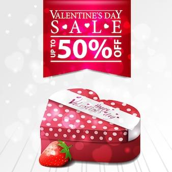 Vente de la saint-valentin blanche, bannière de remise