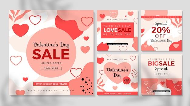 Vente de la saint-valentin collection de publications instagram
