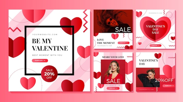 Vente de la saint-valentin collection de publications instagram