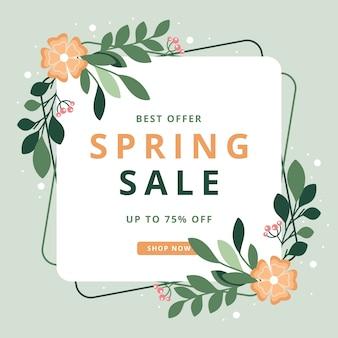 Vente de saison de printemps floral avec cadre abstrait