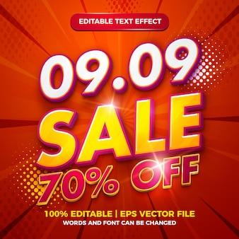 Vente de septembre effet de texte modifiable style de modèle 3d or luxe rouge