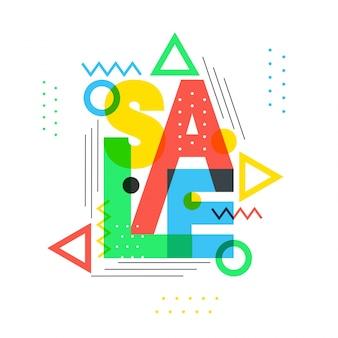 Vente de texte coloré avec des éléments géométriques.