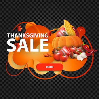 Vente de thanksgiving, bannière orange horizontale en forme de lampe à lave avec récolte d'automne