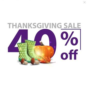 Vente de thanksgiving, jusqu'à 40% de réduction, bannière de remise élégante et blanche avec de grands chiffres rouges