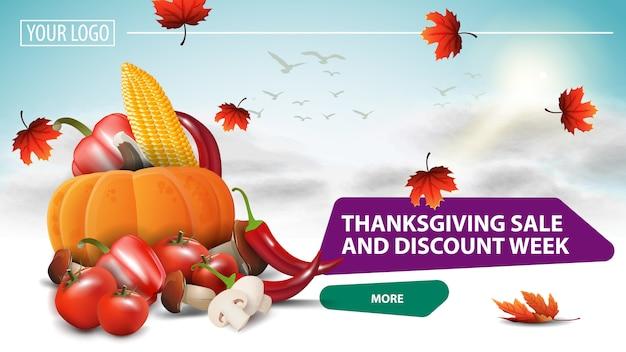 Vente de thanksgiving et semaine de remise, bannière web horizontale blanche