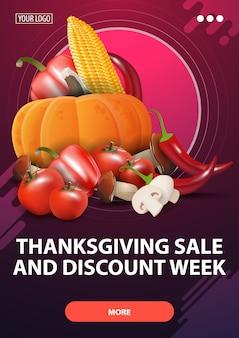 Vente de thanksgiving et semaine de remise, bannière web rose pour vente à prix réduit avec récolte d'automne