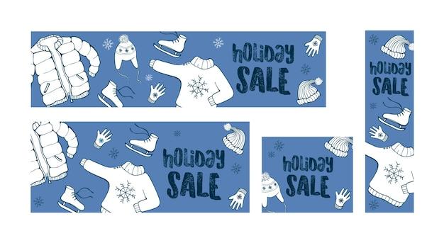 Vente de vacances d'hiver ensemble de 4 bannières web