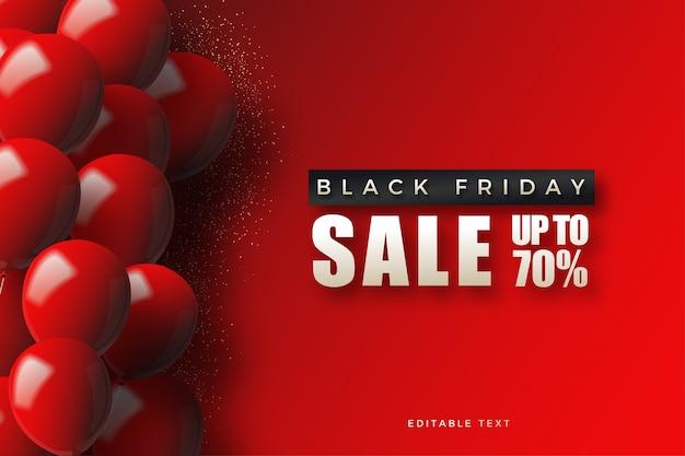 Vente de vendredi noir avec des ballons rouges 3d sur rouge.