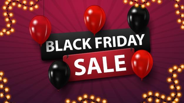 Vente de vendredi noir, bannière d'escompte avec des ballons rouges et noirs