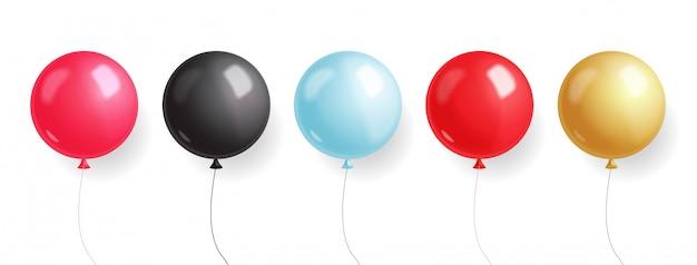 Vente de vendredi noir, bannière noire, super vente, offre spéciale, modèle de conception, illustration de ballons rouges, roses, bleus, or et noirs
