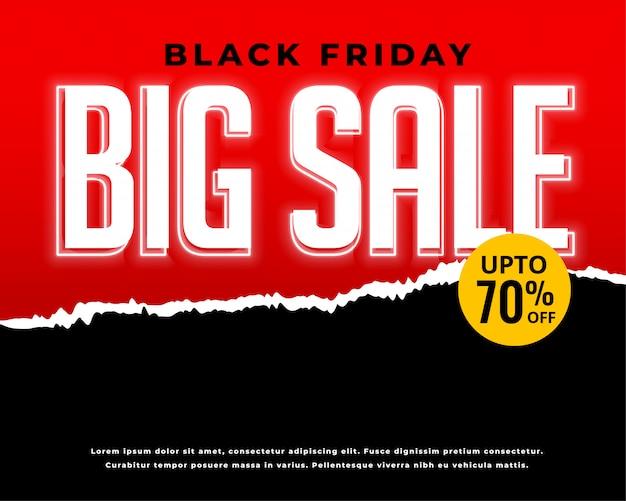 Vente de vendredi noir et bannière rouge discount