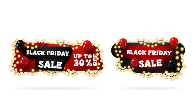 Vente de vendredi noir, bannières de réduction de dessin animé horizontal rouge et noir enveloppées de guirlandes et décorées de ballons.