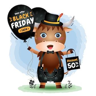 Vente de vendredi noir avec un buffle mignon tenir la promotion de ballon et illustration de sac à provisions