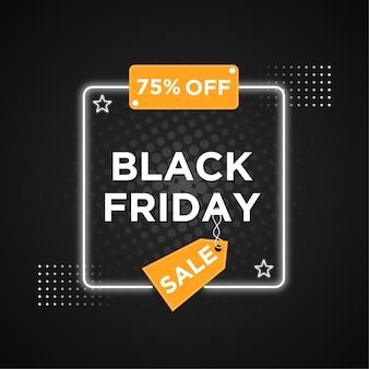 Vente de vendredi noir avec conception de bannière effet style néon