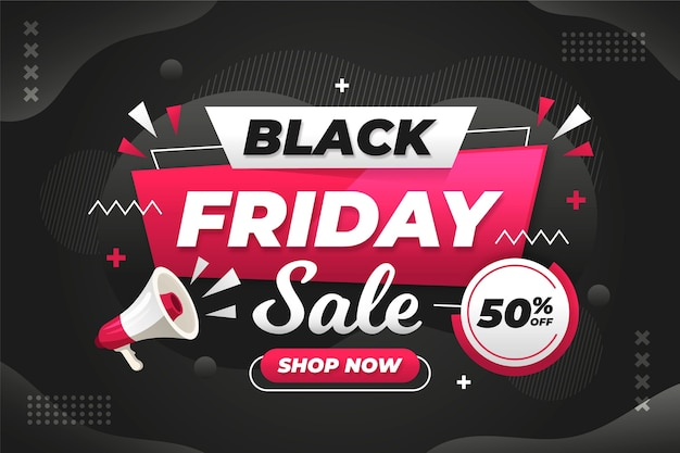 Vente de vendredi noir design plat avec mégaphone