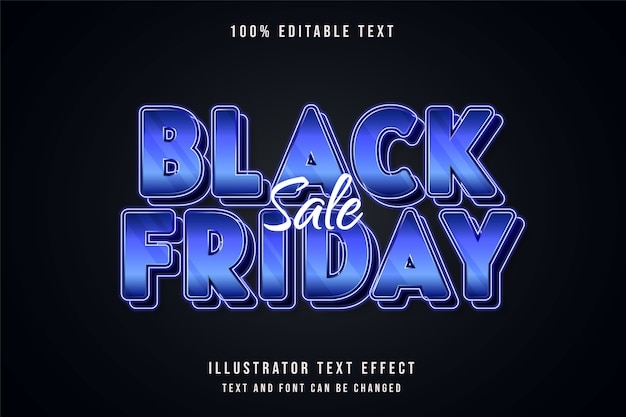 Vente de vendredi noir, effet de texte modifiable 3d dégradé bleu style de texte néon violet